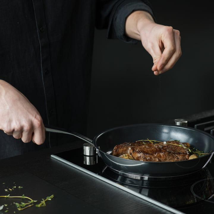 Cooking with the pan from the All Steel series