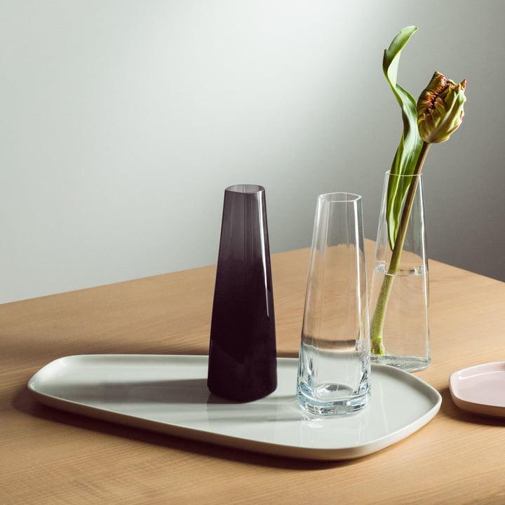 Iittala X Issey Miyake - Serving Plate 20 x 35 cm, Glass Vase 180 mm