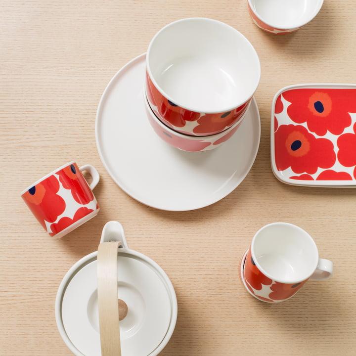 Oiva Unikko bowl by Marimekko in white and red