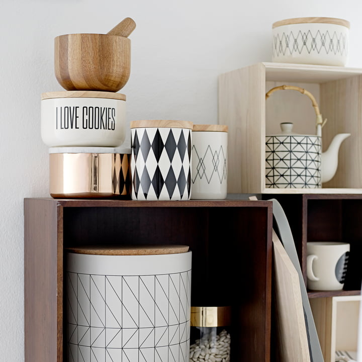 Bloomingville - Storage Jar with Bamboo Lid, black / white, Ø14.5 x H18 cm