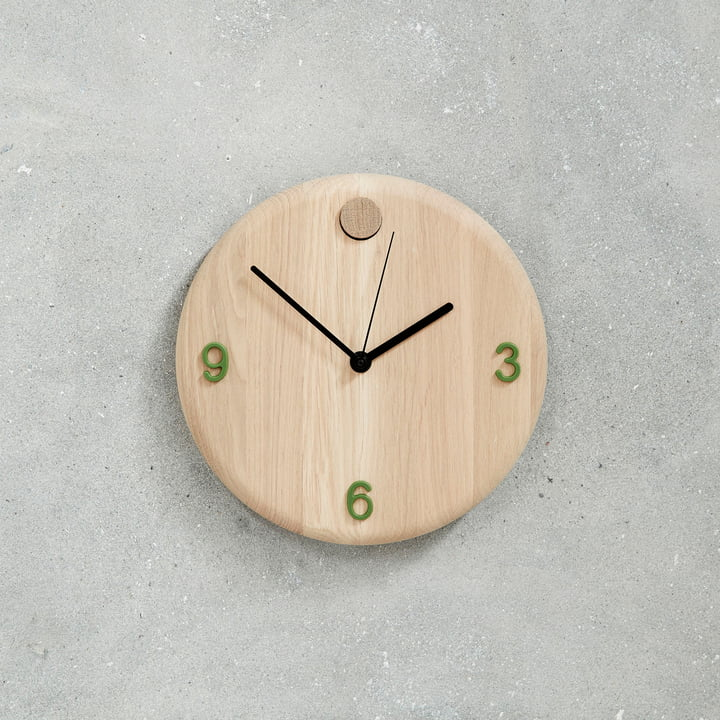 Wood Time Clock by Andersen Furniture with Green Numbers