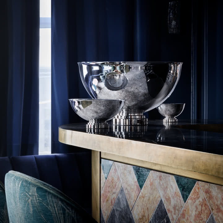 Manhattan Champagne Cooler and Bowls by Georg Jensen