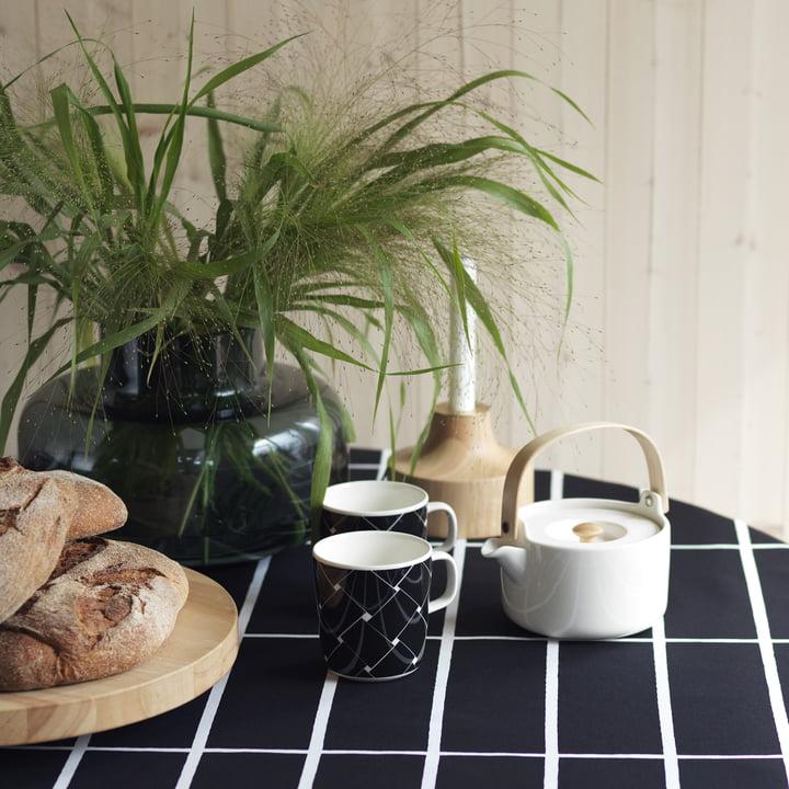 Urna Vase, Oiva Basket Mug, Oiva Teapot and Stamp Candleholders by Marimekko