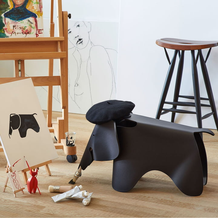 Eames Elephant by Vitra, jet black