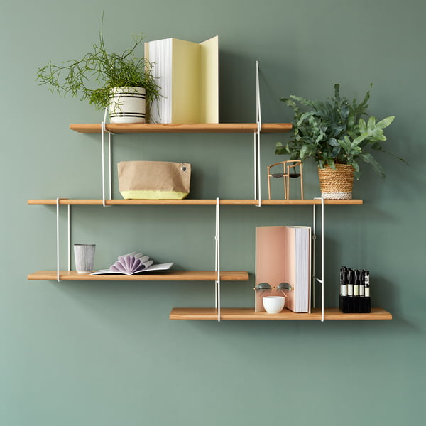 Link shelf system from Studio Hausen in natural oak / white