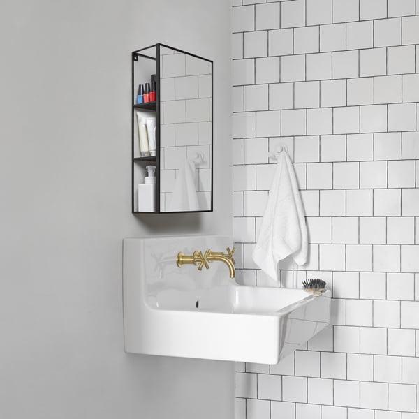 Cubiko mirror shelf in black from Umbra in the bathroom