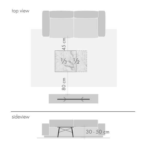 Coffee tables graphic 2 - height and size